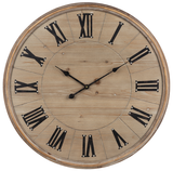 Natural Wood Wall Clock with Roman Numerals