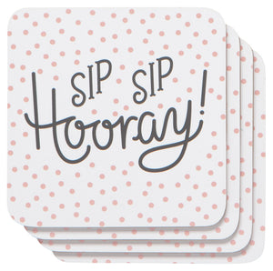 Sip Sip Hooray Cork-Backed Coasters Set of 4