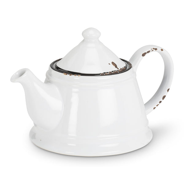 Enamel Look Teapot White