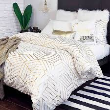 Gold Geometric Duvet Cover Set- King