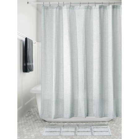Waffle Weave Spa Blue Fabric Shower Curtain