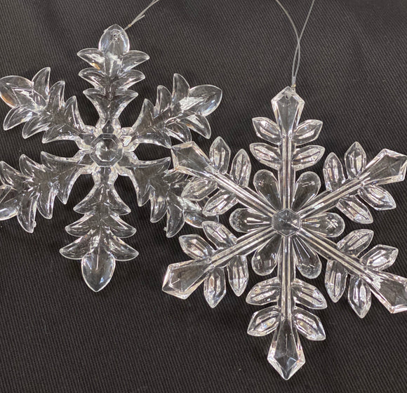 Clear Snowflake Ornament Set of 2