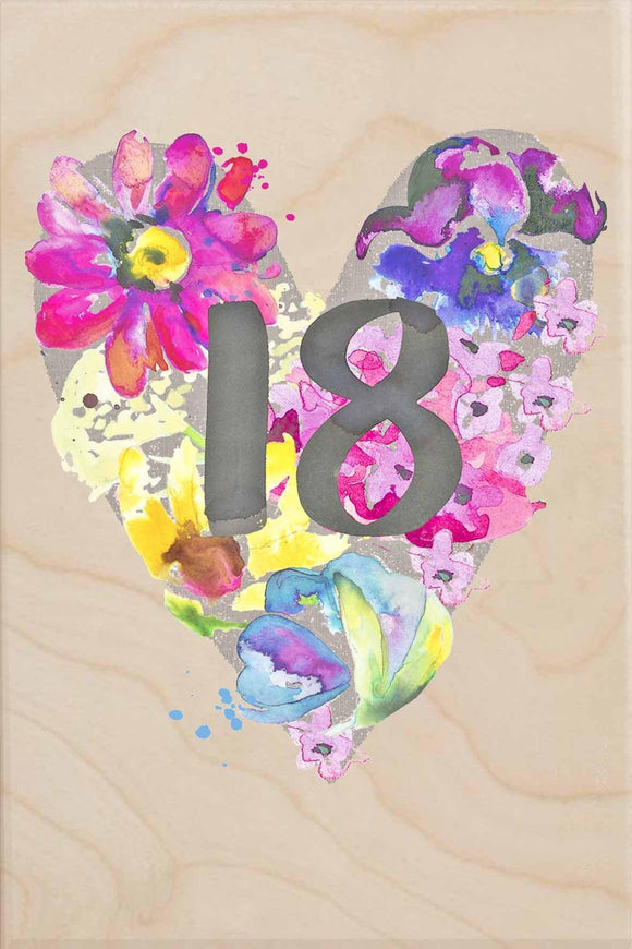 18TH BIRTHDAY-wooden_greeting_card_Sarah_Kelleher_Design=THE WOODEN POSTCARD COMPANY