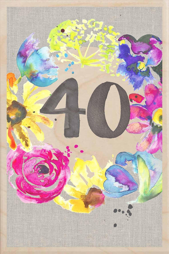 40TH BIRTHDAY-wooden_greeting_card_Sarah_Kelleher_Design=THE WOODEN POSTCARD COMPANY