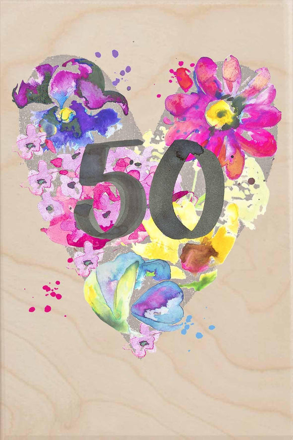 50TH BIRTHDAY-wooden_greeting_card_Sarah_Kelleher_Design=THE WOODEN POSTCARD COMPANY