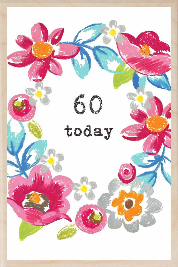 60 TODAY-wooden_greeting_card_Sarah_Kelleher_Design=THE WOODEN POSTCARD COMPANY