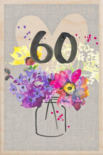 60TH BIRTHDAY-wooden_greeting_card_Sarah_Kelleher_Design=THE WOODEN POSTCARD COMPANY