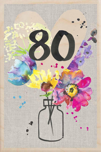 80TH BIRTHDAY-wooden_greeting_card_Sarah_Kelleher_Design=THE WOODEN POSTCARD COMPANY