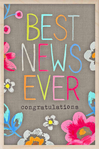BEST NEWS EVER, CONGRATULATIONS-wooden_greeting_card_Sarah_Kelleher_Design=THE WOODEN POSTCARD COMPANY