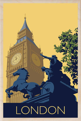 BIG BEN-[wooden_postcard]-[london_transport_museum]-[original_illustration]THE WOODEN POSTCARD COMPANY
