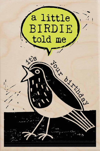 BIRTHDAY BIRDIE-wooden_greeting_card_Sarah_Kelleher_Design=THE WOODEN POSTCARD COMPANY