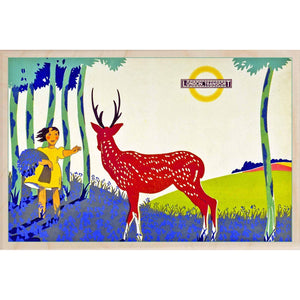 BLUEBELL TIME-[wooden_postcard]-[london_transport_museum]-[original_illustration]THE WOODEN POSTCARD COMPANY