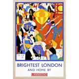 BRIGHTEST LONDON NIGHT LIFE-[wooden_postcard]-[london_transport_museum]-[original_illustration]THE WOODEN POSTCARD COMPANY
