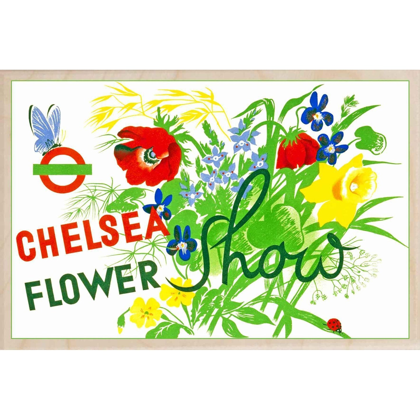 CHELSEA FLOWER SHOW-[wooden_postcard]-[london_transport_museum]-[original_illustration]THE WOODEN POSTCARD COMPANY