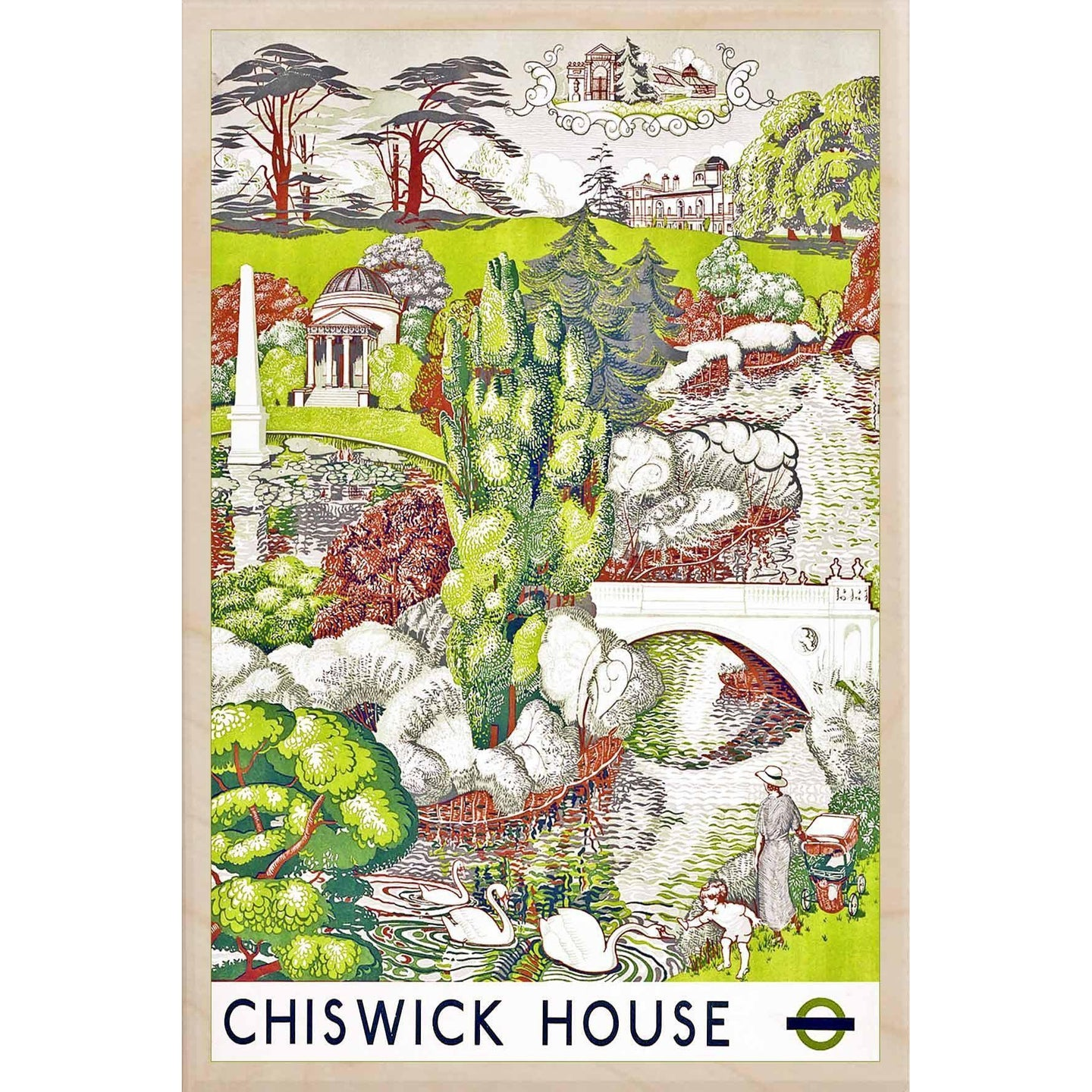 CHISWICK HOUSE-[wooden_postcard]-[london_transport_museum]-[original_illustration]THE WOODEN POSTCARD COMPANY