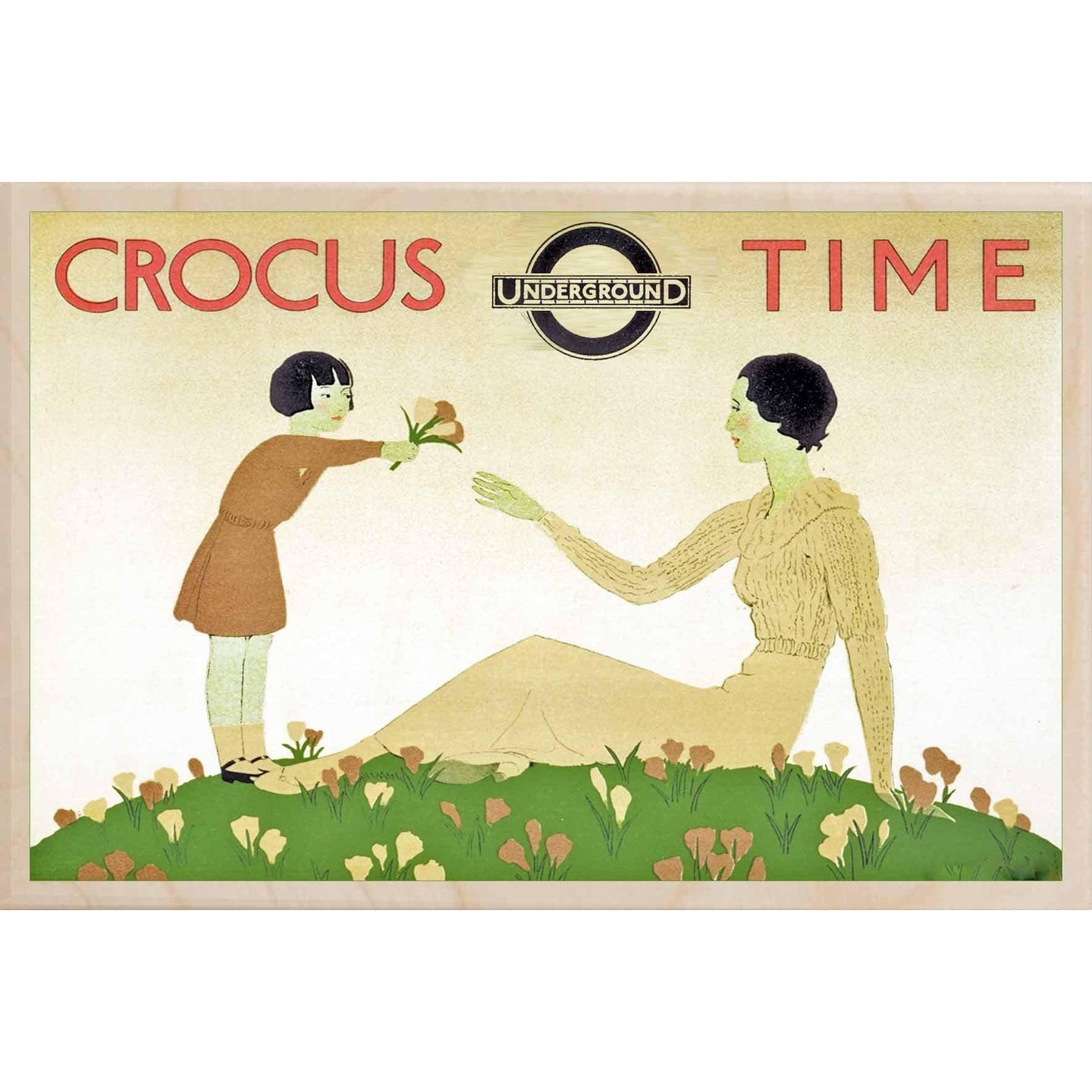 CROCUS TIME-[wooden_postcard]-[london_transport_museum]-[original_illustration]THE WOODEN POSTCARD COMPANY
