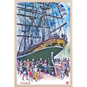 CUTTY SARK-[wooden_postcard]-[london_transport_museum]-[original_illustration]THE WOODEN POSTCARD COMPANY