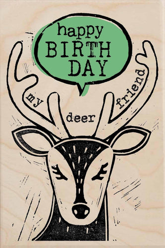 DEER FRIEND BIRTHDAY-wooden_greeting_card_Sarah_Kelleher_Design=THE WOODEN POSTCARD COMPANY