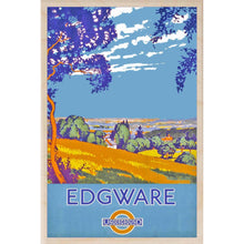 Load image into Gallery viewer, EDGWARE-[wooden_postcard]-[london_transport_museum]-[original_illustration]THE WOODEN POSTCARD COMPANY