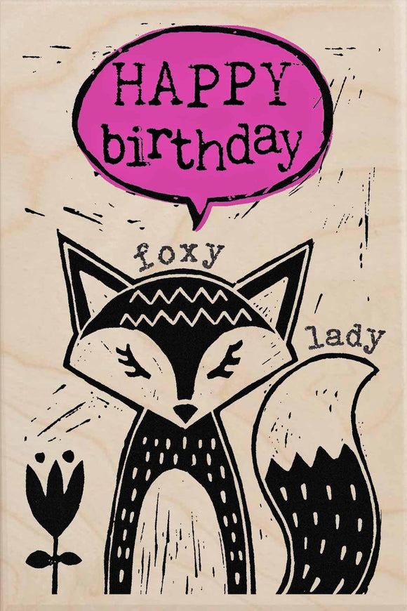 FOXY LADY BIRTHDAY-wooden_greeting_card_Sarah_Kelleher_Design=THE WOODEN POSTCARD COMPANY