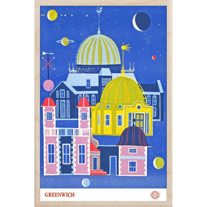 GREENWICH OBSERVATORY-[wooden_postcard]-[london_transport_museum]-[original_illustration]THE WOODEN POSTCARD COMPANY