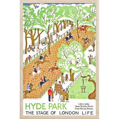 HYDE PARK-[wooden_postcard]-[london_transport_museum]-[original_illustration]THE WOODEN POSTCARD COMPANY