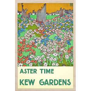 KEW GARDENS, ASTER TIME-[wooden_postcard]-[london_transport_museum]-[original_illustration]THE WOODEN POSTCARD COMPANY