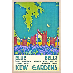 KEW GARDENS, BLUE BELLS-[wooden_postcard]-[london_transport_museum]-[original_illustration]THE WOODEN POSTCARD COMPANY