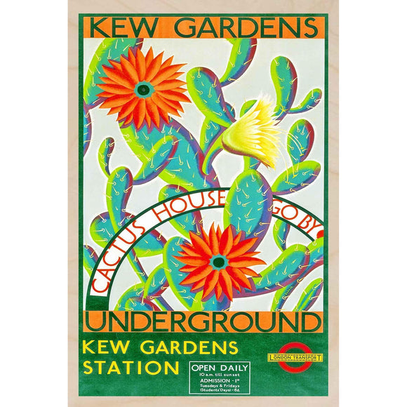KEW GARDENS, CACTUS HOUSE-[wooden_postcard]-[london_transport_museum]-[original_illustration]THE WOODEN POSTCARD COMPANY