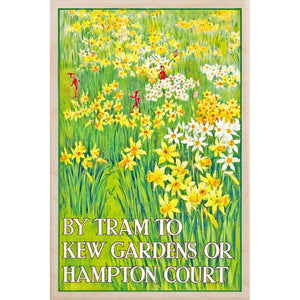 KEW GARDENS, DAFFODILS-[wooden_postcard]-[london_transport_museum]-[original_illustration]THE WOODEN POSTCARD COMPANY