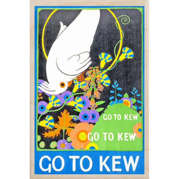 KEW GARDENS, GO TO KEW-[wooden_postcard]-[london_transport_museum]-[original_illustration]THE WOODEN POSTCARD COMPANY