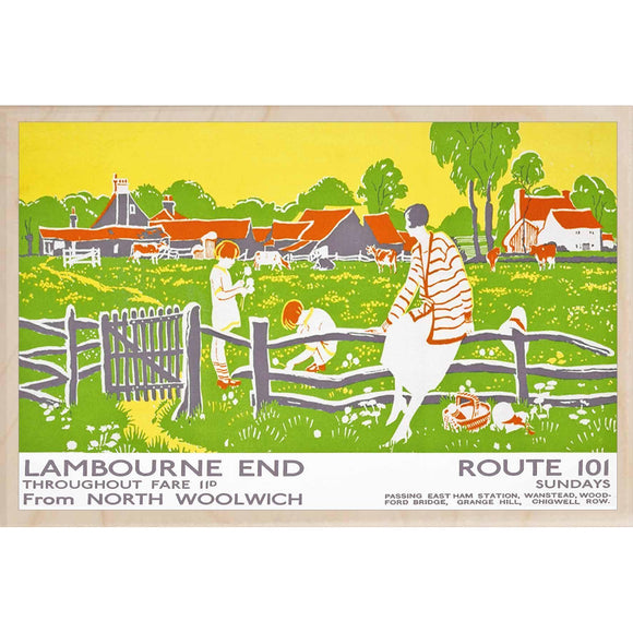 LAMBOURNE END-[wooden_postcard]-[london_transport_museum]-[original_illustration]THE WOODEN POSTCARD COMPANY