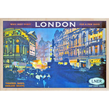 Load image into Gallery viewer, LONDON BY NIGHT-[wooden_postcard]-[london_transport_museum]-[original_illustration]THE WOODEN POSTCARD COMPANY