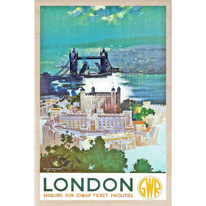 LONDON GWR-[wooden_postcard]-[london_transport_museum]-[original_illustration]THE WOODEN POSTCARD COMPANY