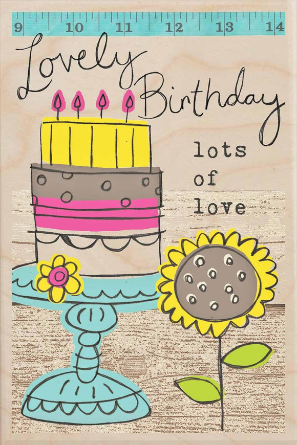 LOVELY BIRTHDAY-wooden_greeting_card_Sarah_Kelleher_Design=THE WOODEN POSTCARD COMPANY