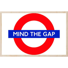 Load image into Gallery viewer, MIND THE GAP-[wooden_postcard]-[london_transport_museum]-[original_illustration]THE WOODEN POSTCARD COMPANY