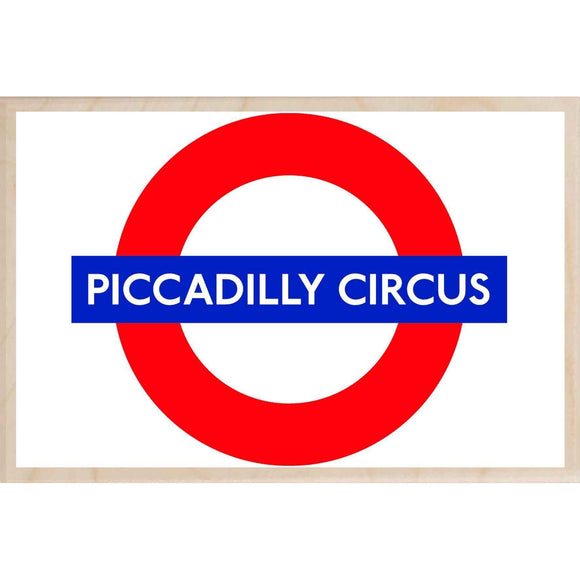 PICCADILLY CIRCUS-[wooden_postcard]-[london_transport_museum]-[original_illustration]THE WOODEN POSTCARD COMPANY