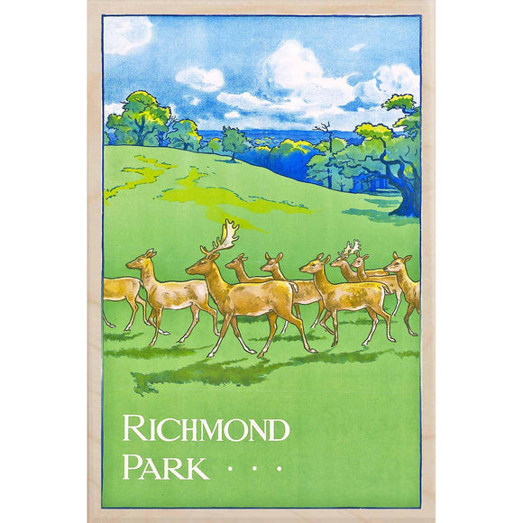 RICHMOND PARK-[wooden_postcard]-[london_transport_museum]-[original_illustration]THE WOODEN POSTCARD COMPANY