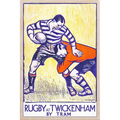 RUGBY AT TWICKENHAM-[wooden_postcard]-[london_transport_museum]-[original_illustration]THE WOODEN POSTCARD COMPANY