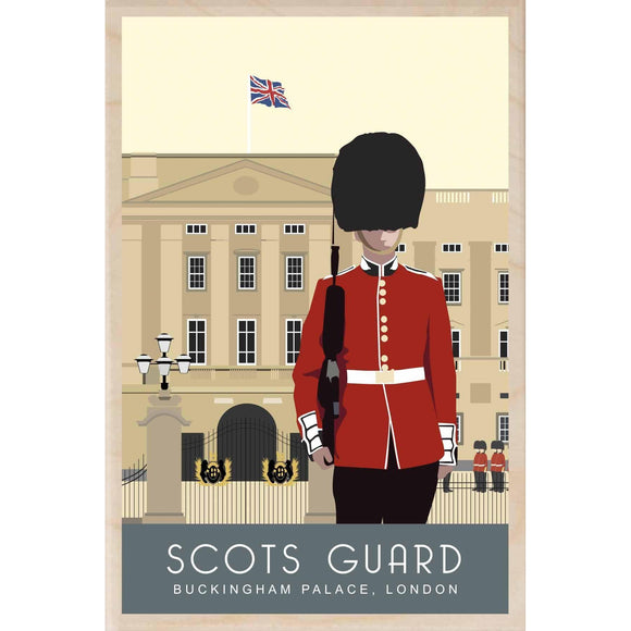 SCOTS GUARD-[wooden_postcard]-[london_transport_museum]-[original_illustration]THE WOODEN POSTCARD COMPANY