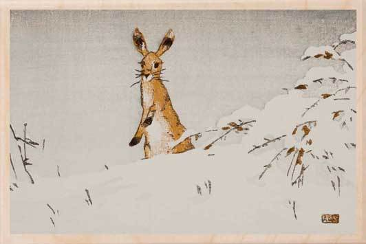 SNOW AND HARE-[national_galleries]-[Scotland]-[wooden_postcard]THE WOODEN POSTCARD COMPANY