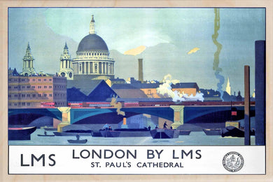 ST PAUL'S CATHEDRAL-[wooden_postcard]-[london_transport_museum]-[original_illustration]THE WOODEN POSTCARD COMPANY