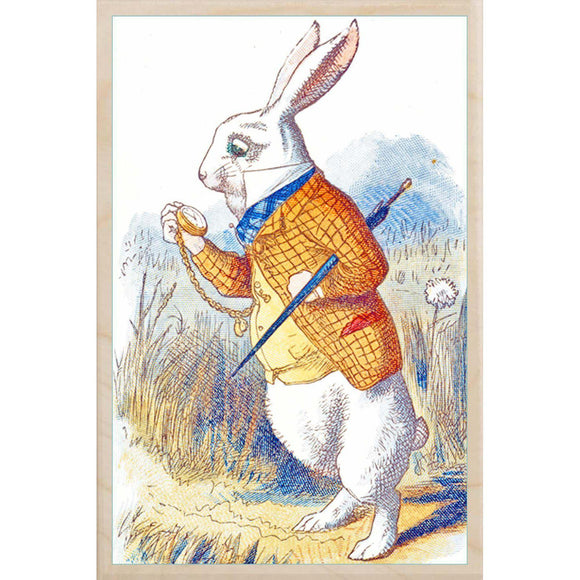 wooden_postcard]THE WHITE RABBIT-THE WOODEN POSTCARD COMPANY-[made_in_great_britain]