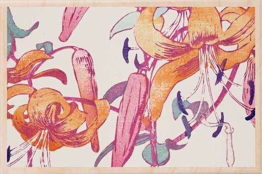 TIGER LILIES-[national_galleries]-[Scotland]-[wooden_postcard]THE WOODEN POSTCARD COMPANY