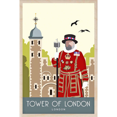 TOWER OF LONDON-[wooden_postcard]-[london_transport_museum]-[original_illustration]THE WOODEN POSTCARD COMPANY