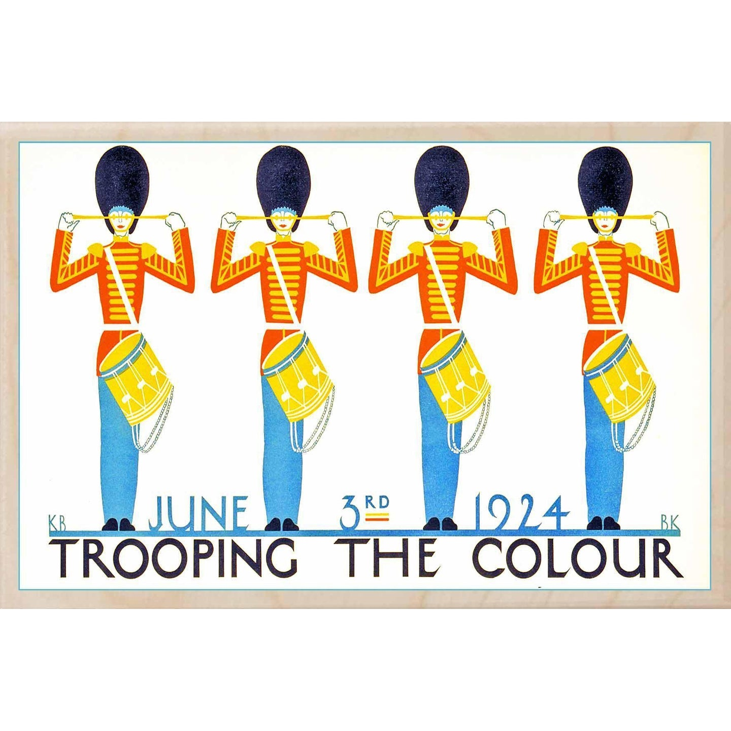 TROOPING THE COLOUR 1924-[wooden_postcard]-[london_transport_museum]-[original_illustration]THE WOODEN POSTCARD COMPANY