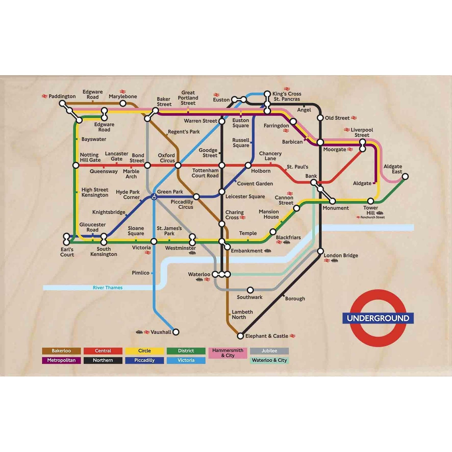 TUBE MAP-[wooden_postcard]-[london_transport_museum]-[original_illustration]THE WOODEN POSTCARD COMPANY