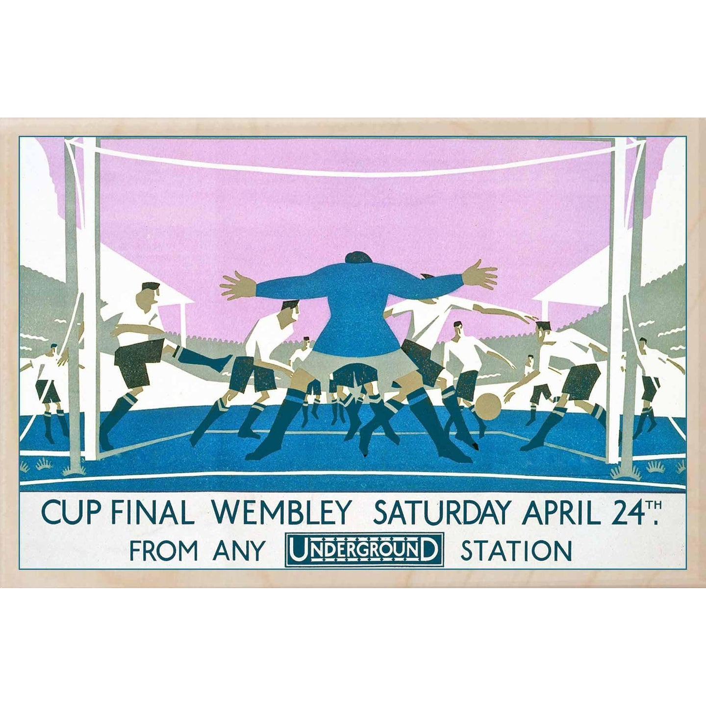 WEMBLEY-[wooden_postcard]-[london_transport_museum]-[original_illustration]THE WOODEN POSTCARD COMPANY