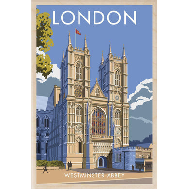 WESTMINSTER ABBEY-[wooden_postcard]-[london_transport_museum]-[original_illustration]THE WOODEN POSTCARD COMPANY
