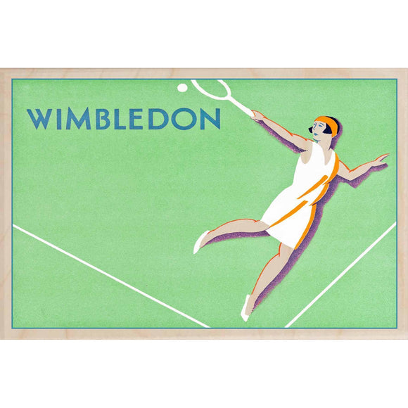 WIMBLEDON LADIES-[wooden_postcard]-[london_transport_museum]-[original_illustration]THE WOODEN POSTCARD COMPANY